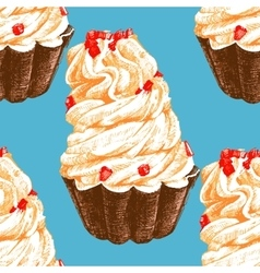 Hand drawn seamless pattern with cupcakes vector image vector image