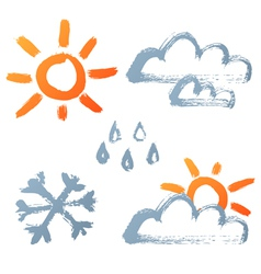 Hand drawn weather icons vector