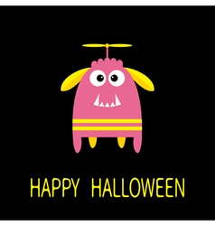 Happy Halloween greeting card Pink monster with vector image vector image