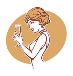 Happy hours portrait of old fashioned retro vector