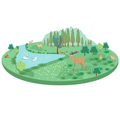 Isometric summer landscape with animals and a pond vector