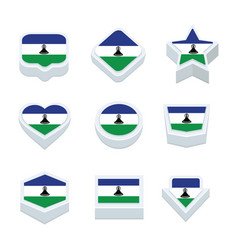 Lesotho flags icons and button set nine styles vector