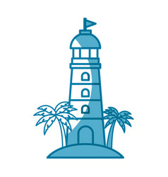 lighthouse and palms icon vector image