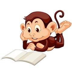 Little monkey reading a book vector