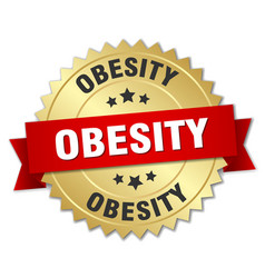 Obesity 3d gold badge with red ribbon vector