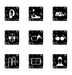 People with disabilities icons set grunge style vector