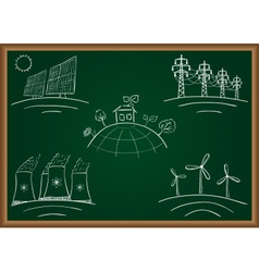 Power station energy green table vector