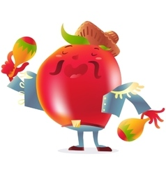 Red tomato character in torero clothes singing and vector