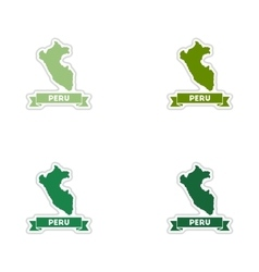 Set of paper stickers on white background Peru map vector image