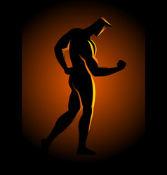 Silhouette of a bodybuilder pose vector