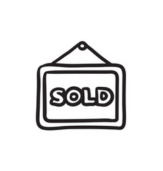 sold placard sketch icon vector image vector image