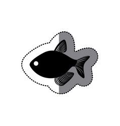 Sticker black silhouette graphic with fish vector