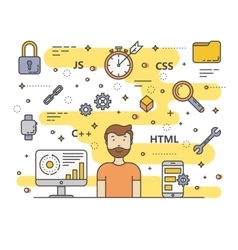 Thin line flat design web development vector