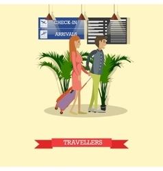 Travellers with baggage in vector