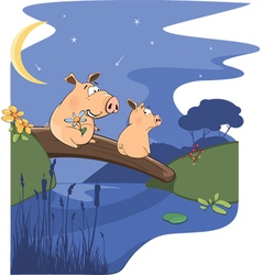 When two pigs are fall in love cartoon vector