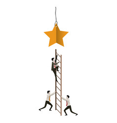 White background with businessman climbing wooden vector