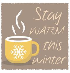 winter card with a cup of hot drink vector image