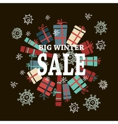Winter sale background with white lettersgifts vector image vector image