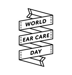 World Ear Care day greeting emblem vector image