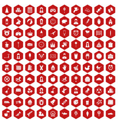 100 child center icons hexagon red vector