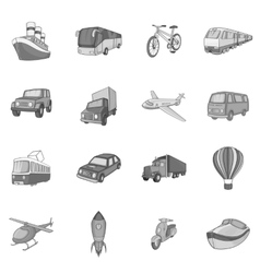 Transport icons set black monochrome style vector image