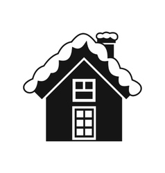 Small snowy cottage icon simple style vector