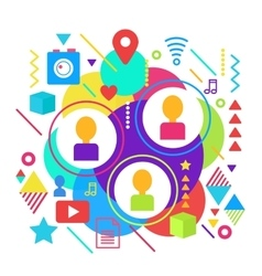 Abstract bright social media network and online vector image