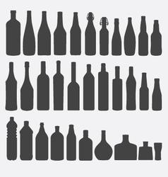 Bottle Silhouette Set vector image