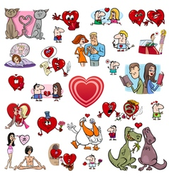 Valentine cartoons set vector