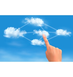 Cloud computing concept hand touching connected vector
