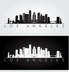 los angeles usa skyline and landmarks silhouette vector image