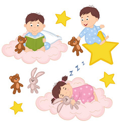 Set of isolated babies on cloud and star vector