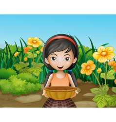 A young girl holding an empty basket at the garden vector