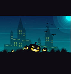 Halloween castle and pumpkin background vector