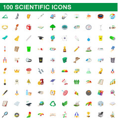 100 scientific icons set cartoon style vector
