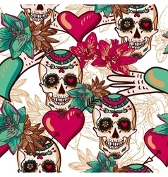 Skull hearts and flowers seamless background vector
