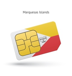 Marquesas islands mobile phone sim card with flag vector