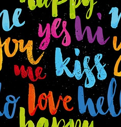 Seamless pattern words of welcome vector image