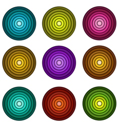 Concentric pipe shape in multiple colors over whit vector