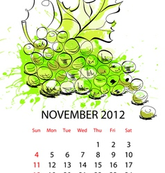 calendar with fruit for 2012 november vector image