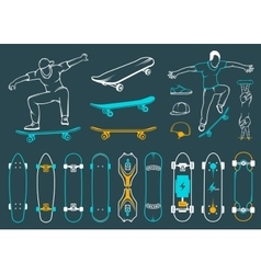 Set of skateboards equipments of street style vector