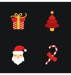 Christmas flat golden icons vector