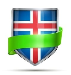 Shield with flag iceland and ribbon vector