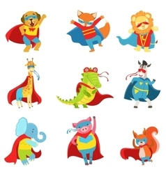 Animals Superheroes With Capes And Masks Set vector image vector image