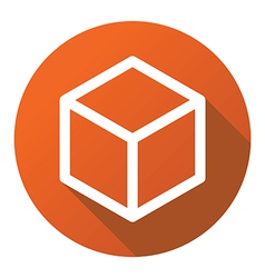 Box cube line flat logo icon vector