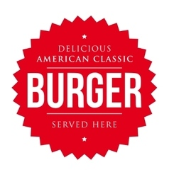 Burger vintage label red vector image vector image
