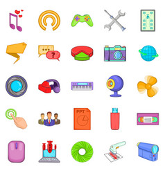 Computer application icons set cartoon style vector