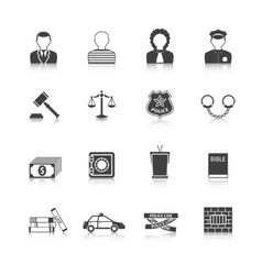 Crime and punishments icons set vector