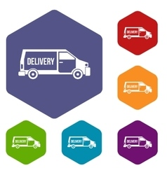 Delivery truck icons set vector image