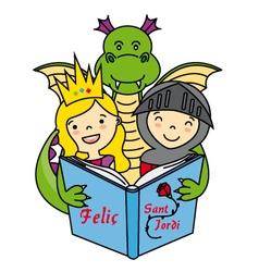 Dragon knight and princess vector